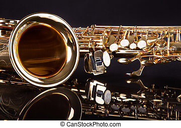 Trumpet - Close-up Of Trumpet Over Black Reflective...