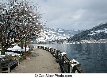 Tranquil Alpine Scene - Tranquil Alpine lake scenery in...