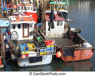 Trawler fleet berthed in harbour, Scarborough, U.K.