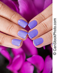 Manicured Fingernails In Front Of Purple Flowers - Close-up...