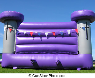 Bouncy castle - Side view of inflatable bouncy castle on...