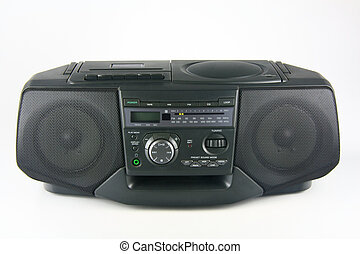 Boombox - Stereo radio with cassette and CD player on white