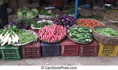vegetables in street bazaar,India - various vegetables in...