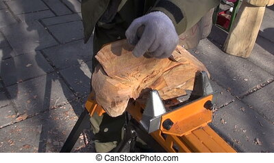 carver carving wood