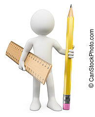 3D white people. Pencil and ruler - 3d white person with a...
