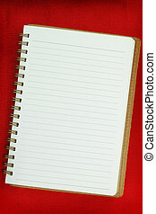 White Blank notebook on red background