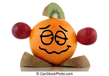 Diet again Funny fruit character collection on white...