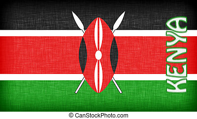 Linen flag of Kenya with letters stiched on it