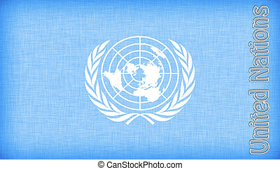 Linen flag of the UN with letters stiched on it
