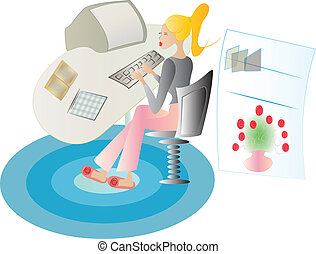 lady working at her home office, with slippers on carpet,...