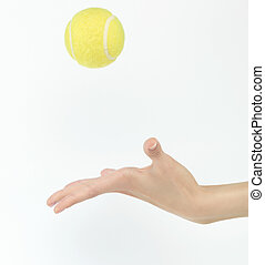 tennis ball throw up - tennis ball thrown up in hand...