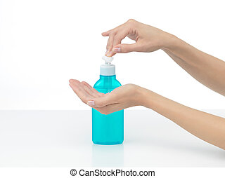 hands care - hands that are to be disinfected with soap...