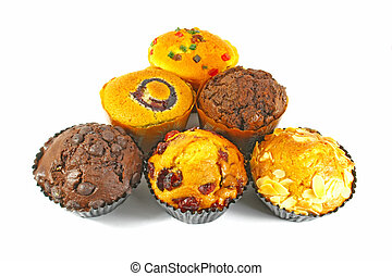 Assorted Cupcakes and Muffins Freshly Baked on White Surface