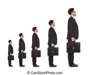 business man waiting in line for his career to evolve and to...