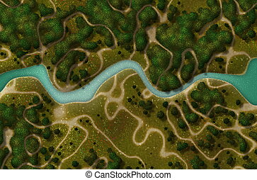 Birds Eye View of a Biking Hiking Trail Background