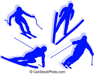 Skier silhouette in different poses and attitudes