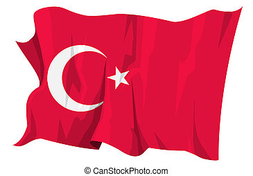 Flag series: Turkey - Computer generated illustration of the...