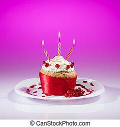 vermelho, groselha, muffin, celebração