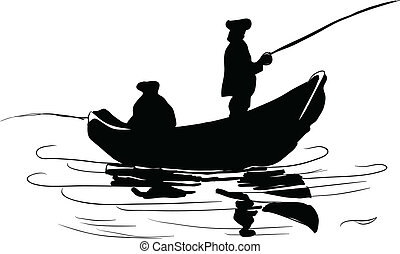 Fishermen in a boat. Fishing from a boat. Drawing made ??by...