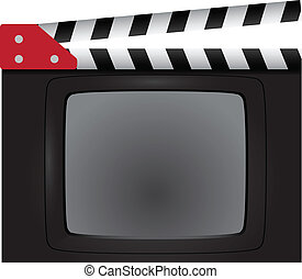 Movie clapper with a television screen Background Vector...