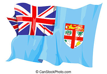 Flag series: Fiji - Computer generated illustration of the...