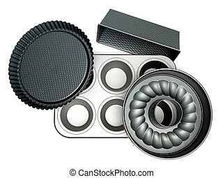 trays for cakes - different cake pans on white background