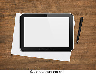 Blank digital tablet on a desk - Blank modern digital tablet...
