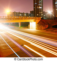 City Night - The city's night scene, the car lights as flow...