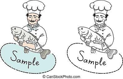 cozinheiro, logotipo, peixe, modelo