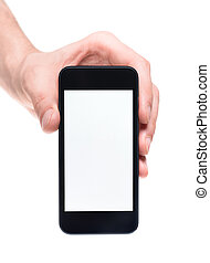 Hand holding smartphone with blank screen - Mens hand...