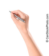 Hand with pen isolated on white - Close up of women arm...