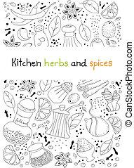 cucina, erbe, spezie, scarabocchiare, fondo