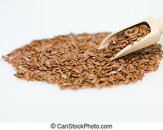 flaxseed on white background macro detail