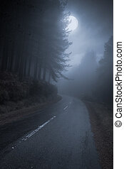 Mountain road at night - Mountain Road that runs through the...