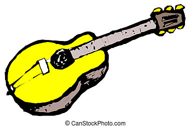 Guitar Over a White Background