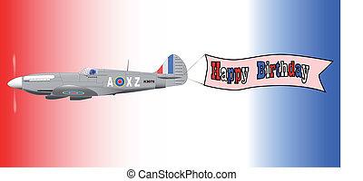 Birthday Airplane Banner - A World War 2 fighter plane...