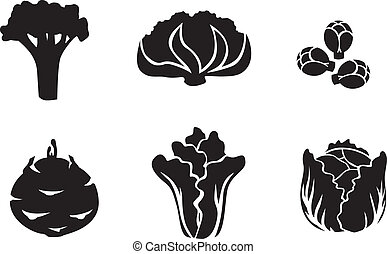 Cabbage set - Set of silhouette images of different...