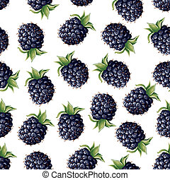 Blackberry seamless pattern - Seamless pattern of realistic...