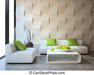moderno, interno, concreto, parete, pannelli