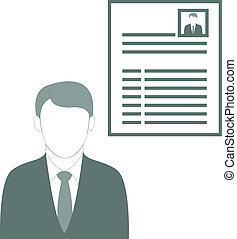 Businessman Presenting His CV - Vector Illustration of a...