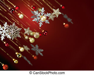 glittery christmas decorations - closeup of many hanging...