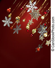 falling christmas decorations - closeup of shiny christmas...