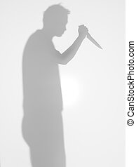 man silhouette holding a knife, diffuse surface - man...