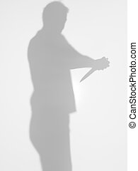 man silhouette trying to commit suicide, with knife - man...