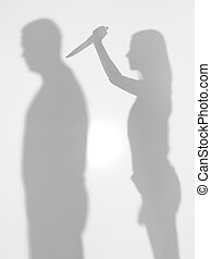 woman stabbing a man, body silhouettes - body silhouettes...