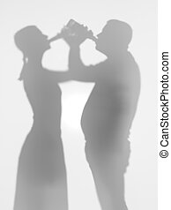 people drinking beer, silhouettes - two people drinking beer...