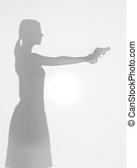 side view of woman holding a gun, silhouete - side view of...
