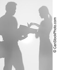 corporate people looking at a project proposal, silhouette -...