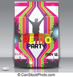 Retro disco party. Abstract flyer