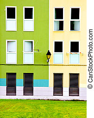 Building facade in two colors
